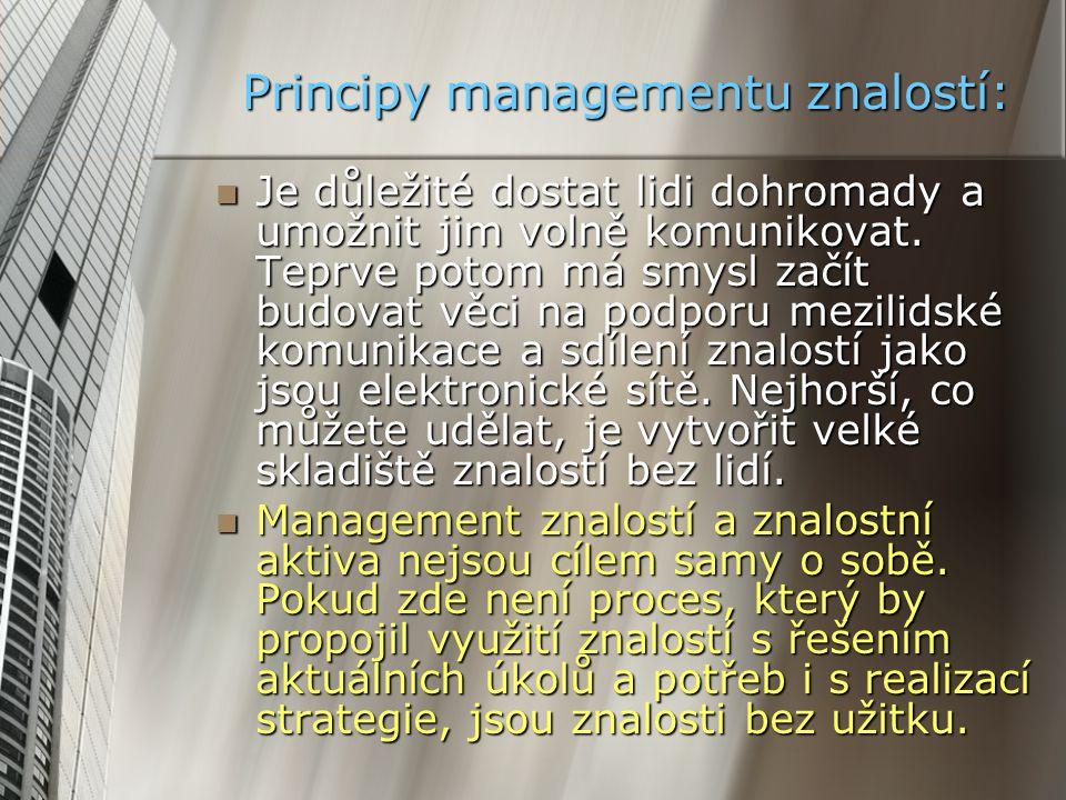 Principy managementu znalostí: Je důležité dostat lidi dohromady a umožnit jim volně komunikovat. Teprve potom má smysl začít budovat věci na podporu