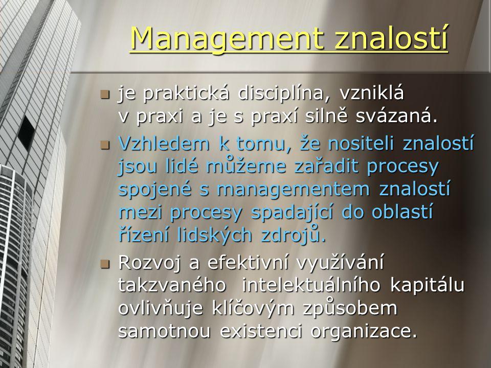 Management znalostí je praktická disciplína, vzniklá v praxi a je s praxí silně svázaná. je praktická disciplína, vzniklá v praxi a je s praxí silně s
