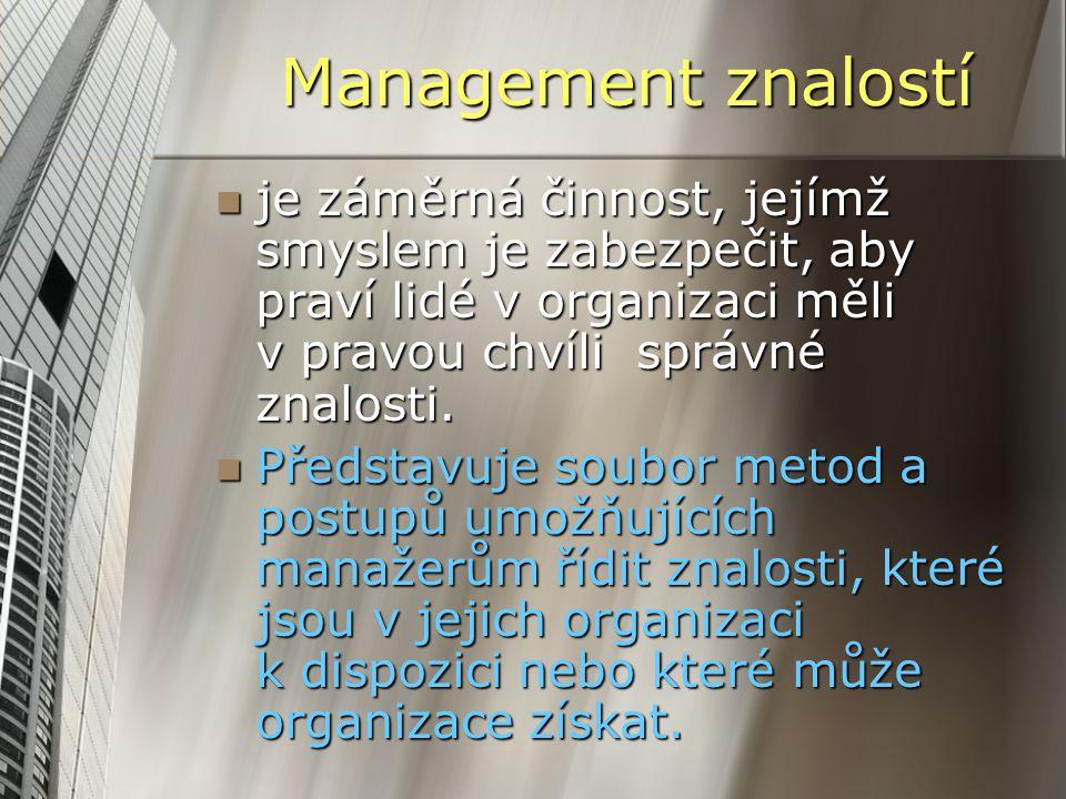Management znalostí je záměrná činnost, jejímž smyslem je zabezpečit, aby praví lidé v organizaci měli v pravou chvíli správné znalosti. je záměrná či