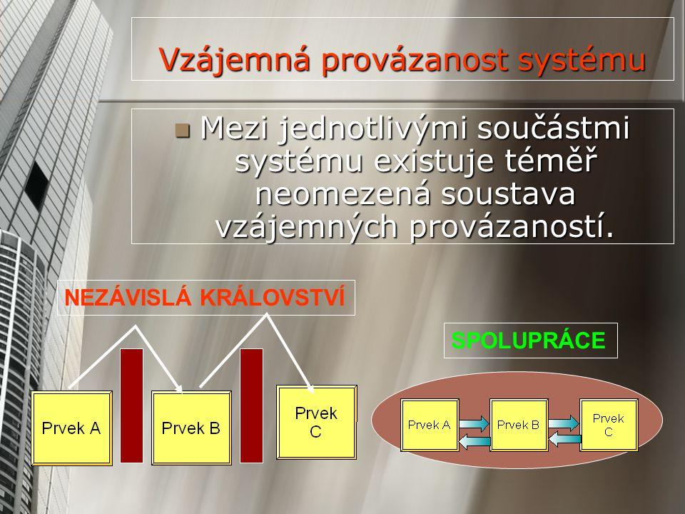 Vzájemná provázanost systému Mezi jednotlivými součástmi systému existuje téměř neomezená soustava vzájemných provázaností. Mezi jednotlivými součástm
