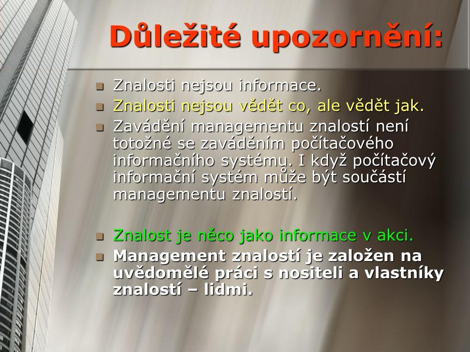 Důležité upozornění: Znalosti nejsou informace. Znalosti nejsou informace. Znalosti nejsou vědět co, ale vědět jak. Znalosti nejsou vědět co, ale vědě