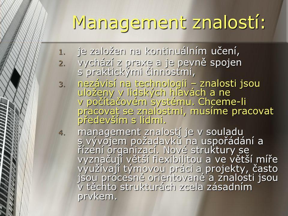 Management znalostí: 1. je založen na kontinuálním učení, 2. vychází z praxe a je pevně spojen s praktickými činnostmi, 3. nezávisí na technologii – z