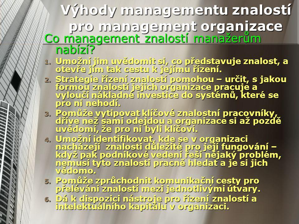 Výhody managementu znalostí pro management organizace Co management znalostí manažerům nabízí? 1. Umožní jim uvědomit si, co představuje znalost, a ot