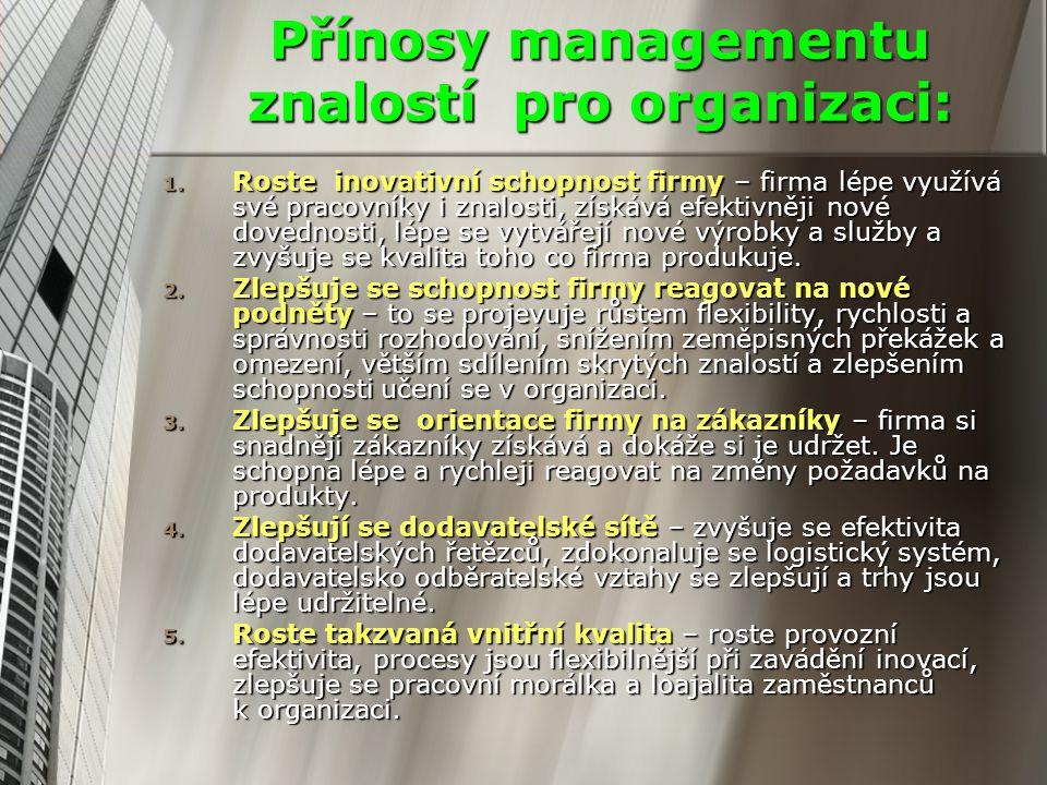 Přínosy managementu znalostí pro organizaci: 1. Roste inovativní schopnost firmy – firma lépe využívá své pracovníky i znalosti, získává efektivněji n