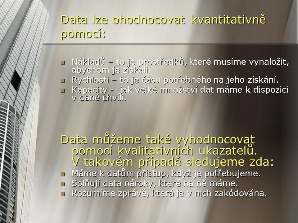 Data lze ohodnocovat kvantitativně pomocí: Nákladů – to je prostředků, které musíme vynaložit, abychom je získali. Nákladů – to je prostředků, které m