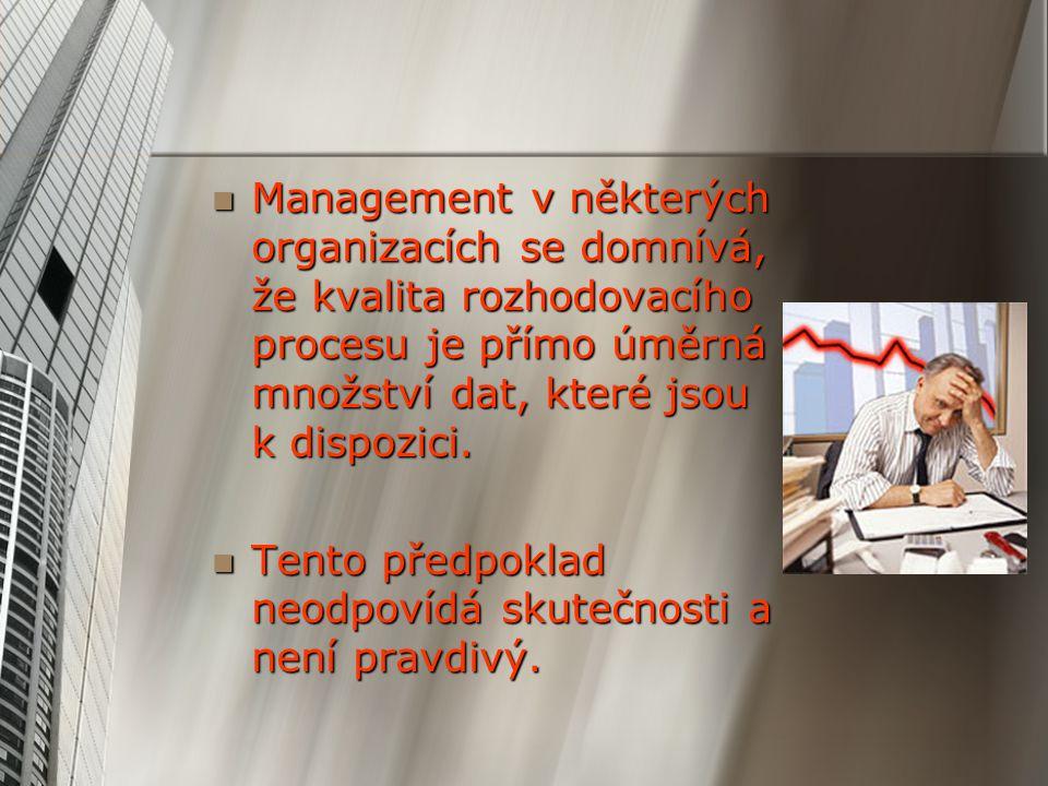 Management v některých organizacích se domnívá, že kvalita rozhodovacího procesu je přímo úměrná množství dat, které jsou k dispozici. Management v ně