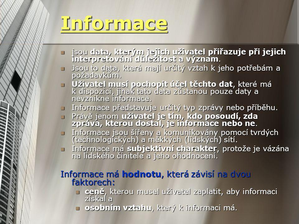 Informace jsou data, kterým jejich uživatel přiřazuje při jejich interpretování důležitost a význam. jsou data, kterým jejich uživatel přiřazuje při j
