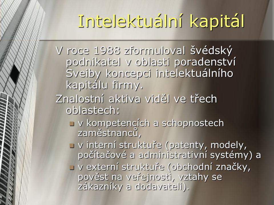 Intelektuální kapitál V roce 1988 zformuloval švédský podnikatel v oblasti poradenství Sveiby koncepci intelektuálního kapitálu firmy. Znalostní aktiv