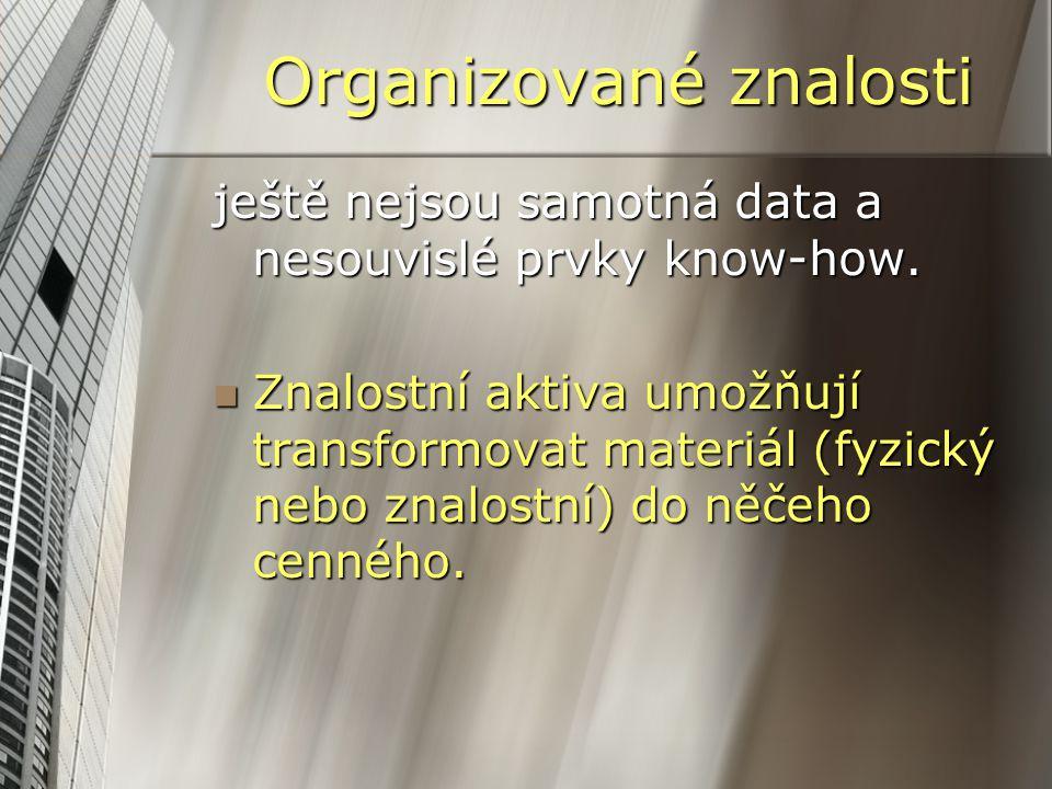 Organizované znalosti ještě nejsou samotná data a nesouvislé prvky know-how. Znalostní aktiva umožňují transformovat materiál (fyzický nebo znalostní)