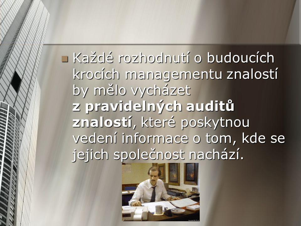 Každé rozhodnutí o budoucích krocích managementu znalostí by mělo vycházet z pravidelných auditů znalostí, které poskytnou vedení informace o tom, kde