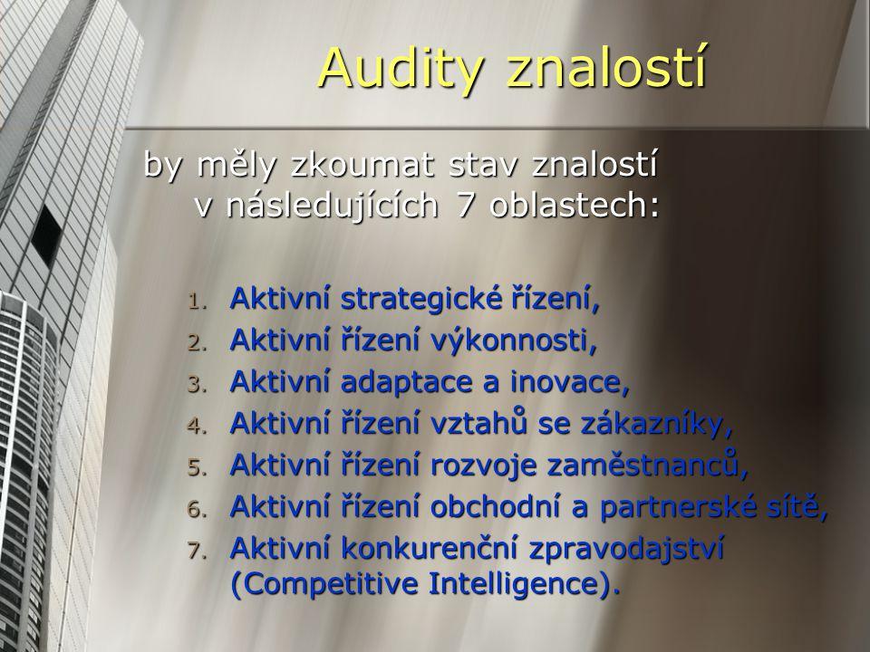 Audity znalostí by měly zkoumat stav znalostí v následujících 7 oblastech: 1. Aktivní strategické řízení, 2. Aktivní řízení výkonnosti, 3. Aktivní ada