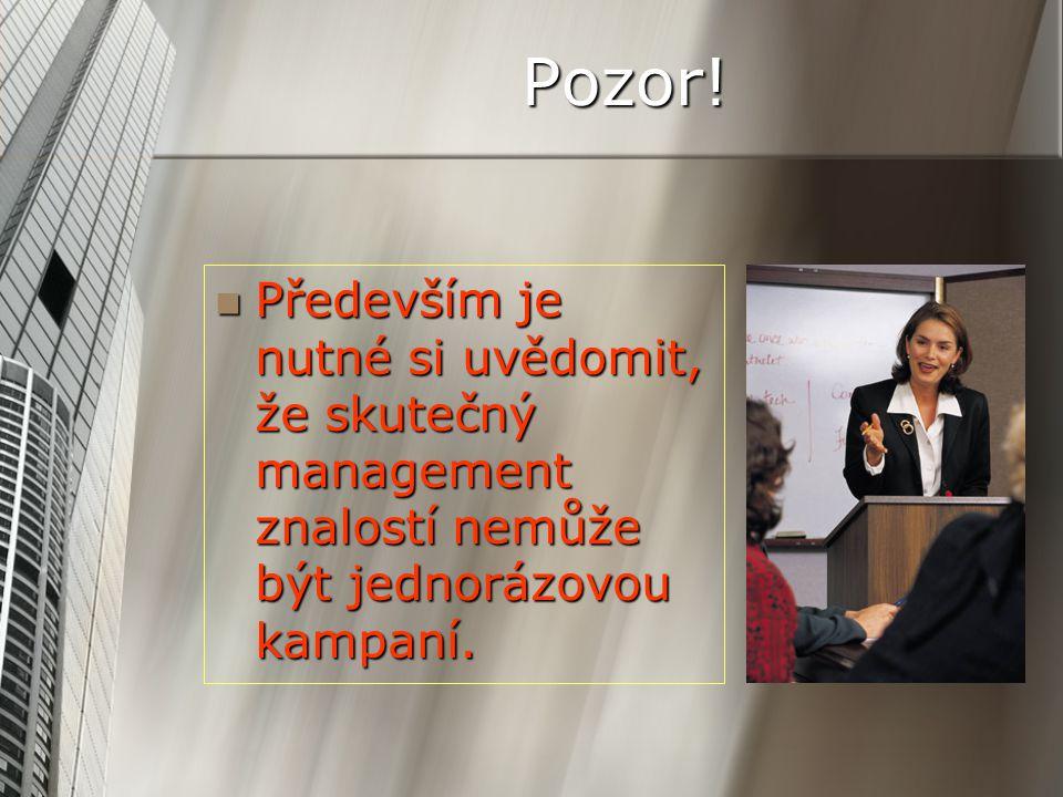 Pozor! Především je nutné si uvědomit, že skutečný management znalostí nemůže být jednorázovou kampaní. Především je nutné si uvědomit, že skutečný ma