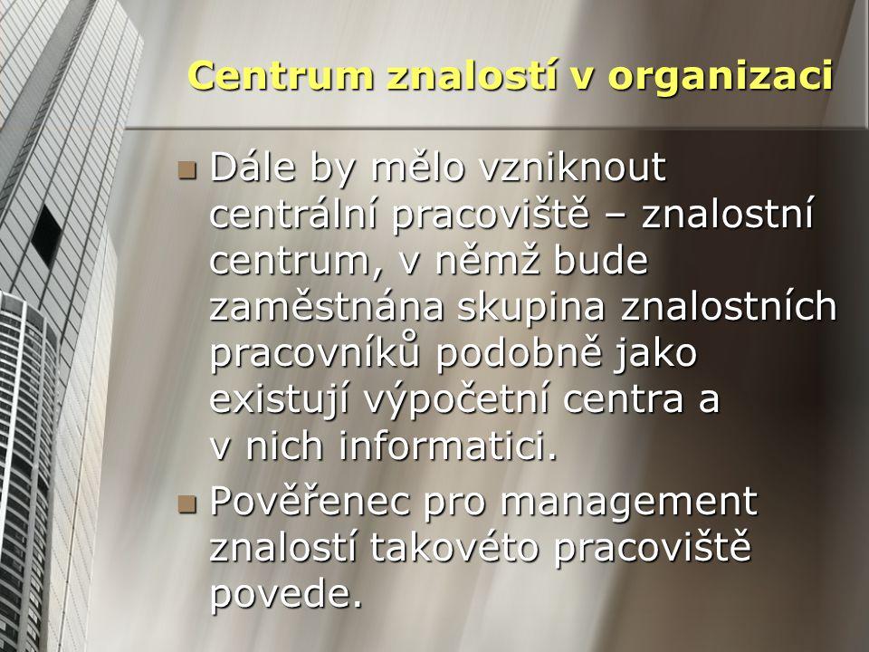 Centrum znalostí v organizaci Dále by mělo vzniknout centrální pracoviště – znalostní centrum, v němž bude zaměstnána skupina znalostních pracovníků p