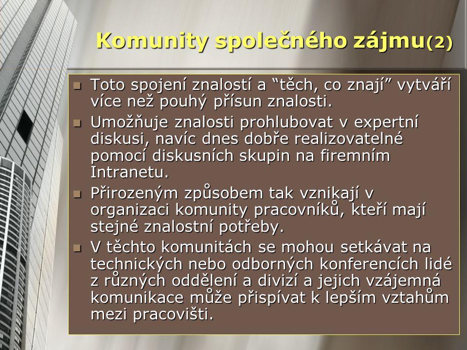 """Komunity společného zájmu (2) Toto spojení znalostí a """"těch, co znají"""" vytváří více než pouhý přísun znalosti. Toto spojení znalostí a """"těch, co znají"""