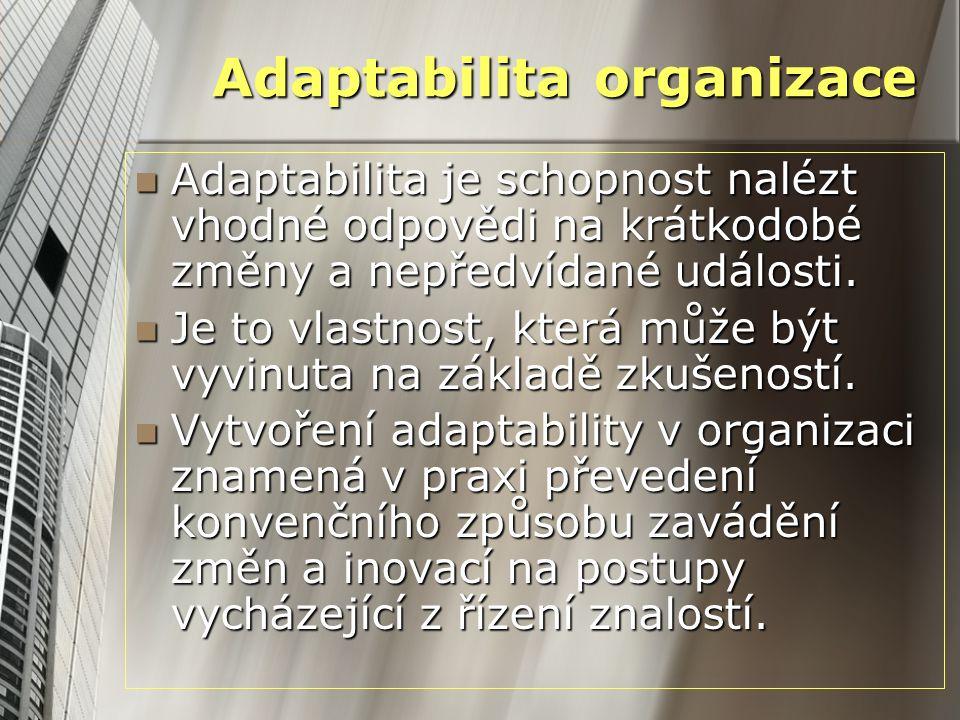 Adaptabilita organizace Adaptabilita je schopnost nalézt vhodné odpovědi na krátkodobé změny a nepředvídané události. Adaptabilita je schopnost nalézt
