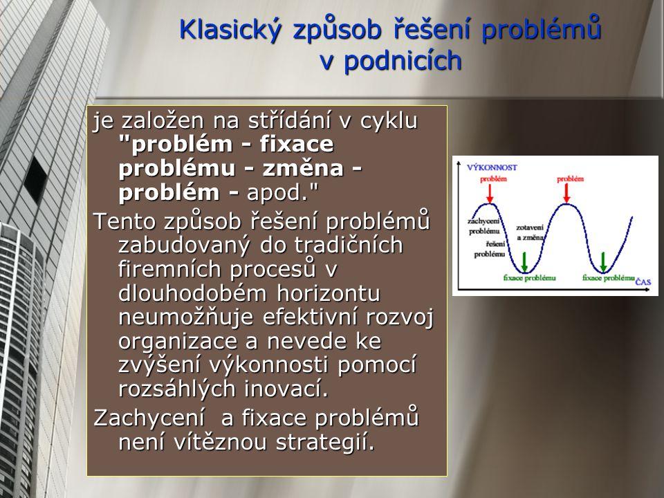 Klasický způsob řešení problémů v podnicích je založen na střídání v cyklu