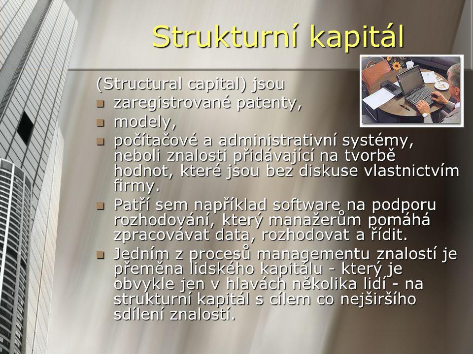 Strukturní kapitál (Structural capital) jsou zaregistrované patenty, zaregistrované patenty, modely, modely, počítačové a administrativní systémy, neb