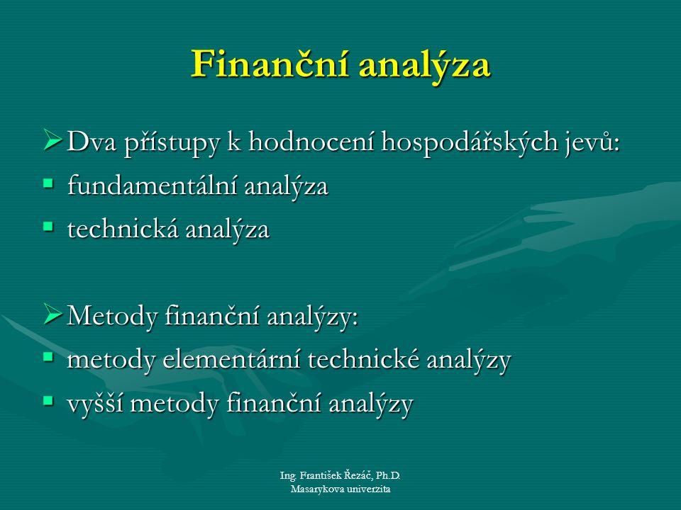 Ing. František Řezáč, Ph.D. Masarykova univerzita Finanční analýza  Dva přístupy k hodnocení hospodářských jevů:  fundamentální analýza  technická