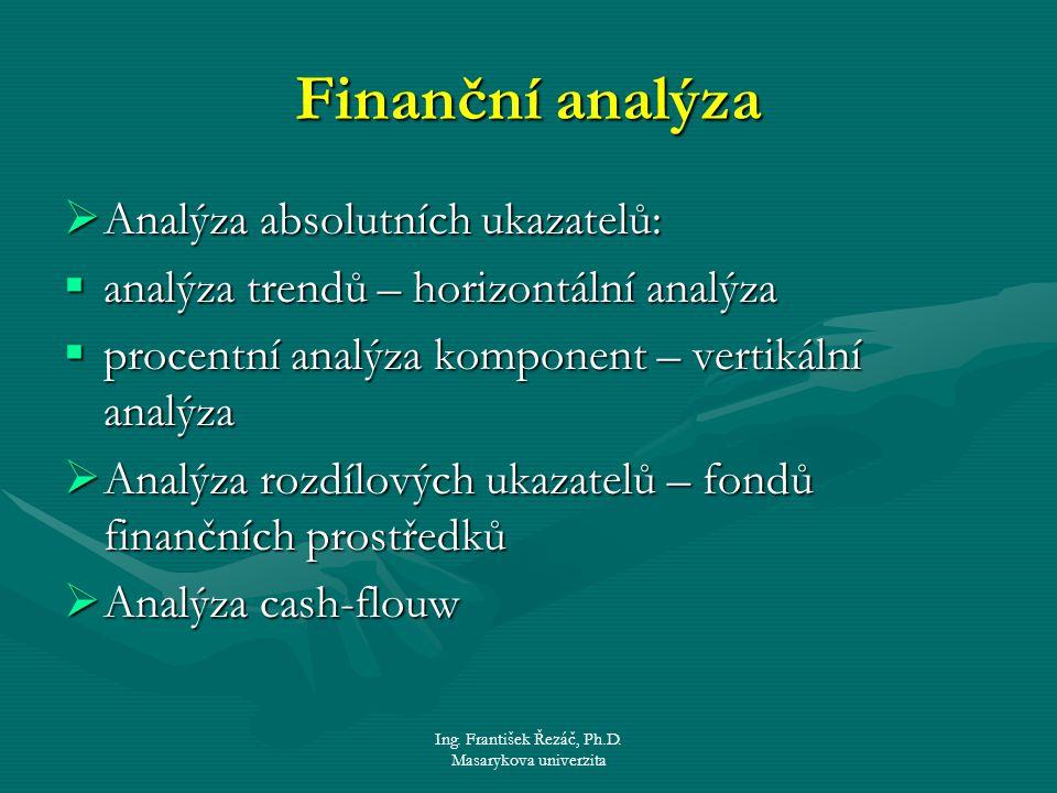 Ing. František Řezáč, Ph.D. Masarykova univerzita Finanční analýza  Analýza absolutních ukazatelů:  analýza trendů – horizontální analýza  procentn