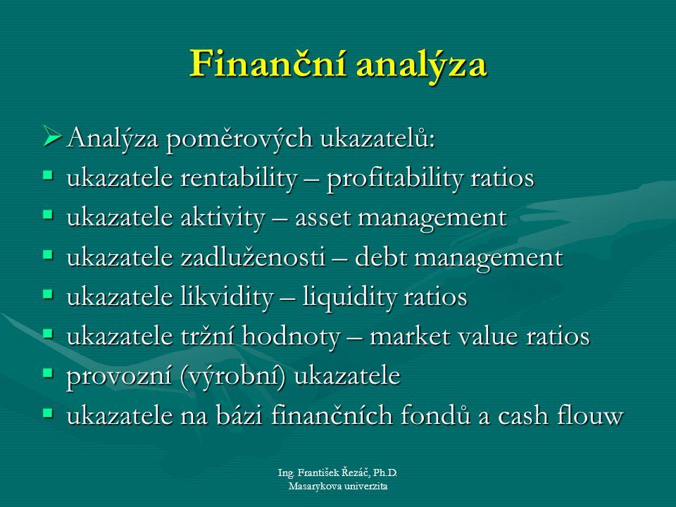 Ing. František Řezáč, Ph.D. Masarykova univerzita Finanční analýza  Analýza poměrových ukazatelů:  ukazatele rentability – profitability ratios  uk