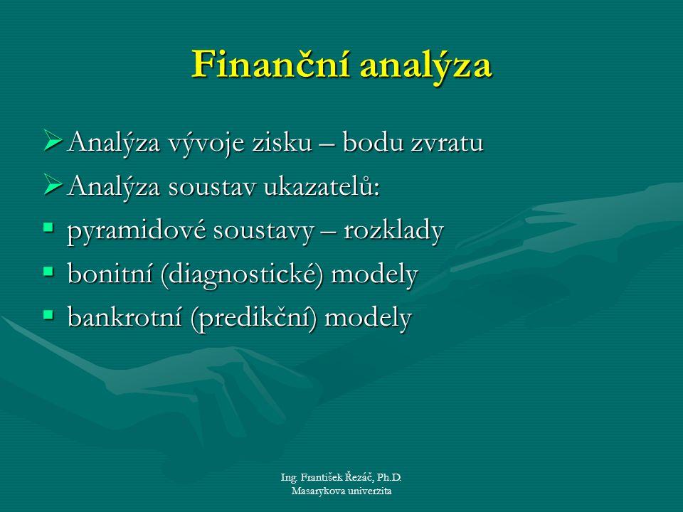 Ing. František Řezáč, Ph.D. Masarykova univerzita Finanční analýza  Analýza vývoje zisku – bodu zvratu  Analýza soustav ukazatelů:  pyramidové sous