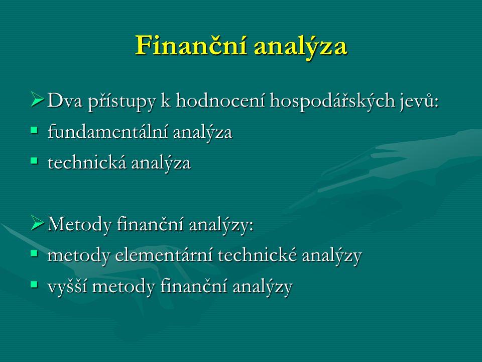 Finanční analýza  Dva přístupy k hodnocení hospodářských jevů:  fundamentální analýza  technická analýza  Metody finanční analýzy:  metody elemen