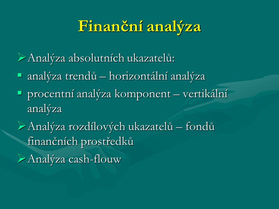 Finanční analýza  Analýza absolutních ukazatelů:  analýza trendů – horizontální analýza  procentní analýza komponent – vertikální analýza  Analýza