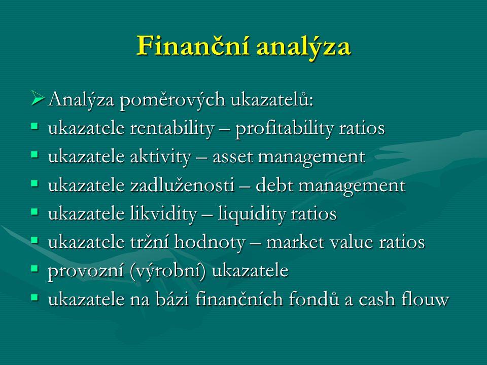 Finanční analýza  Analýza poměrových ukazatelů:  ukazatele rentability – profitability ratios  ukazatele aktivity – asset management  ukazatele za