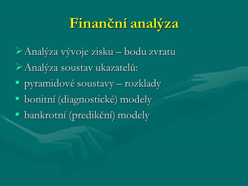 Finanční analýza  Analýza vývoje zisku – bodu zvratu  Analýza soustav ukazatelů:  pyramidové soustavy – rozklady  bonitní (diagnostické) modely 