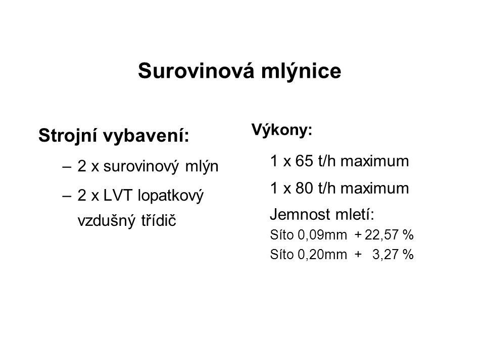 Surovinová mlýnice Výkony: 1 x 65 t/h maximum 1 x 80 t/h maximum Jemnost mletí: Síto 0,09mm + 22,57 % Síto 0,20mm + 3,27 % Strojní vybavení: –2 x suro