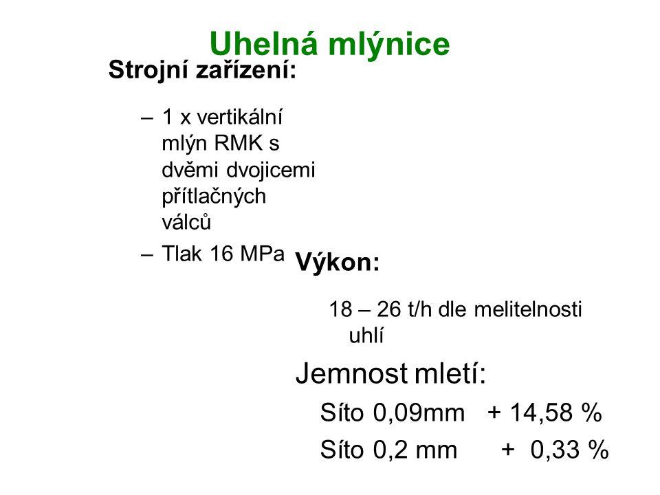 Uhelná mlýnice Výkon: 18 – 26 t/h dle melitelnosti uhlí Jemnost mletí: Síto 0,09mm + 14,58 % Síto 0,2 mm + 0,33 % Strojní zařízení: –1 x vertikální ml