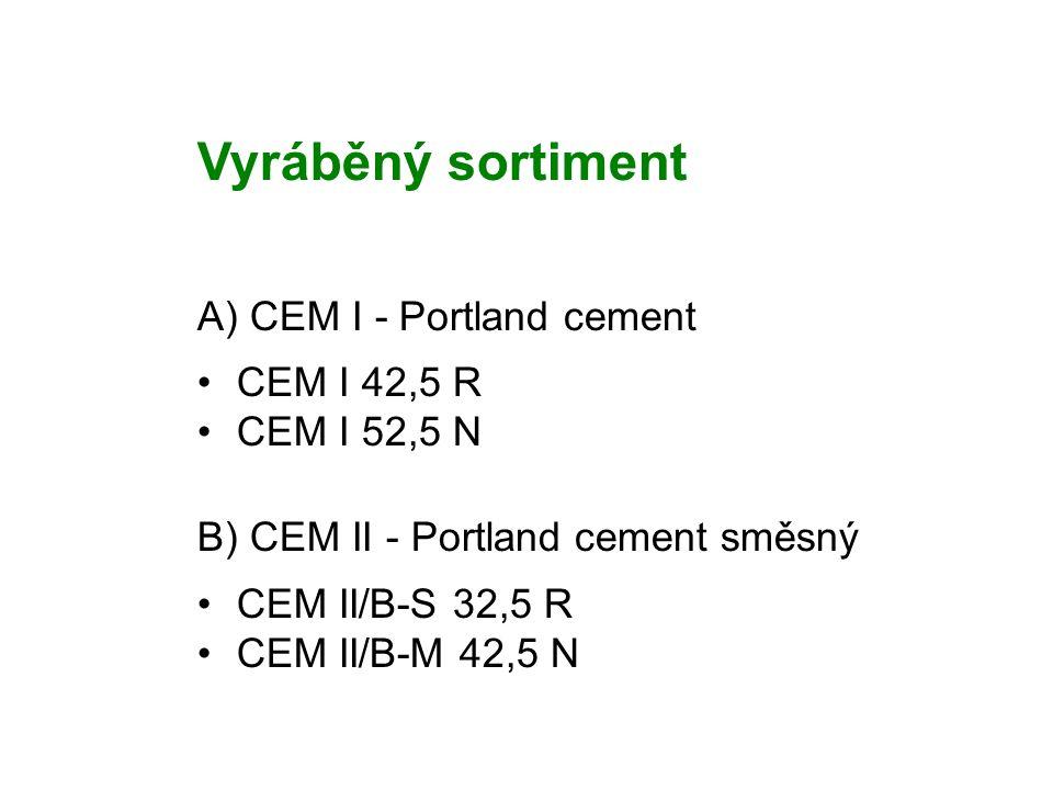 Vyráběný sortiment A) CEM I - Portland cement CEM I 42,5 R CEM I 52,5 N B) CEM II - Portland cement směsný CEM II/B-S 32,5 R CEM II/B-M 42,5 N