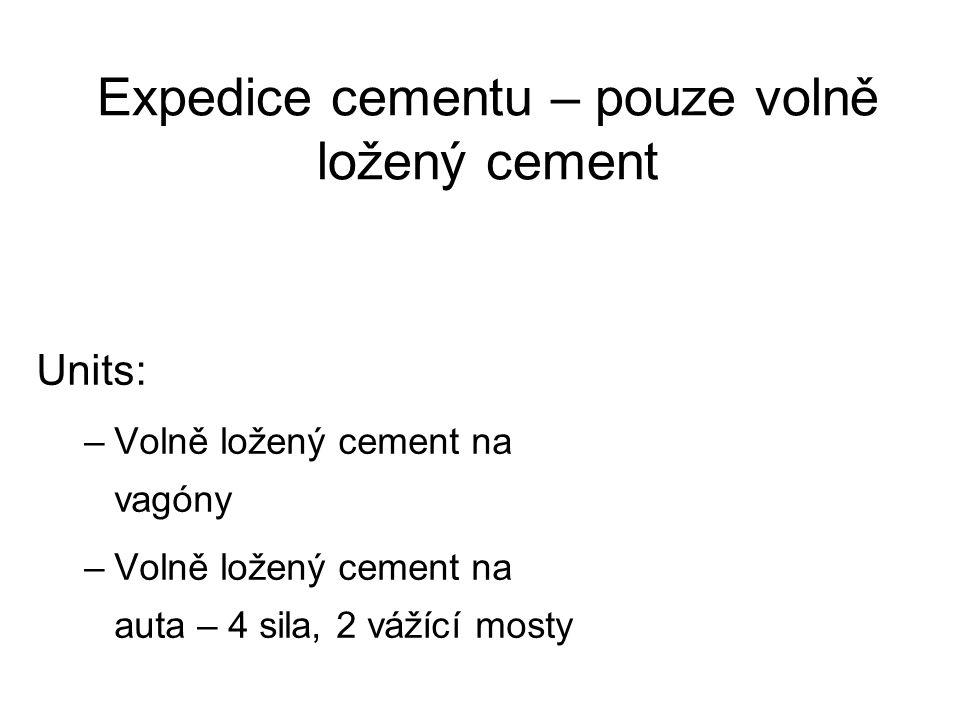 Expedice cementu – pouze volně ložený cement Units: –Volně ložený cement na vagóny –Volně ložený cement na auta – 4 sila, 2 vážící mosty