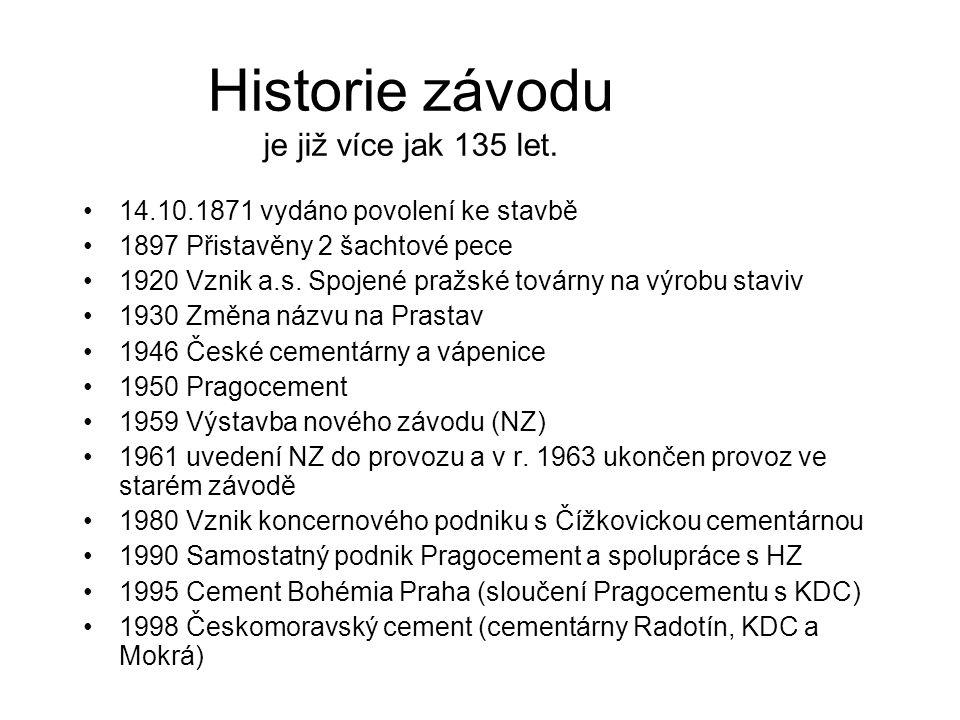 Historie závodu je již více jak 135 let. 14.10.1871 vydáno povolení ke stavbě 1897 Přistavěny 2 šachtové pece 1920 Vznik a.s. Spojené pražské továrny