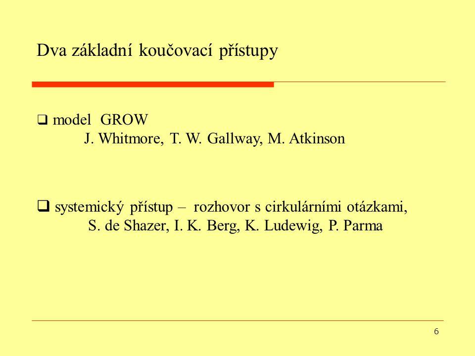 6  model GROW J. Whitmore, T. W. Gallway, M. Atkinson Dva základní koučovací přístupy  systemický přístup – rozhovor s cirkulárními otázkami, S. de