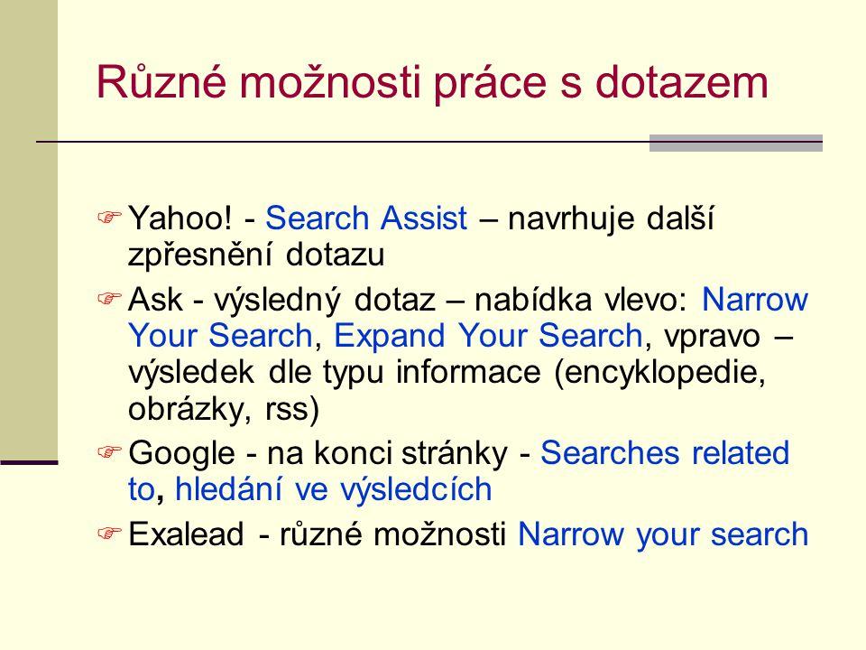 Různé možnosti práce s dotazem  Yahoo.
