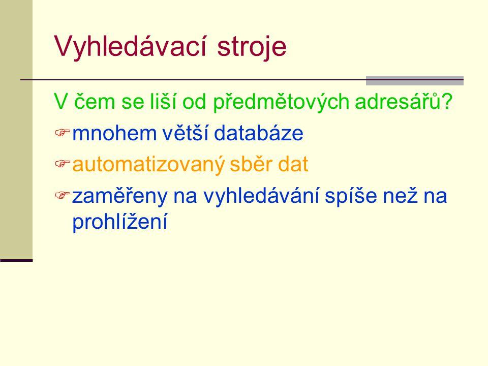 Vyhledávací stroje V čem se liší od předmětových adresářů.