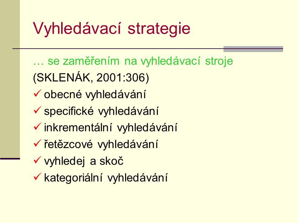 Vyhledávací strategie … se zaměřením na vyhledávací stroje (SKLENÁK, 2001:306) obecné vyhledávání specifické vyhledávání inkrementální vyhledávání řetězcové vyhledávání vyhledej a skoč kategoriální vyhledávání