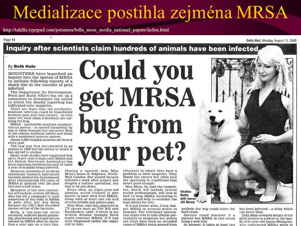 (Mimochodem ovšem, veterinární souvislosti tu ovšem opravdu existují) http://tahilla.typepad.com/petsmrsa/bella_moss_media_national_papers/index.html