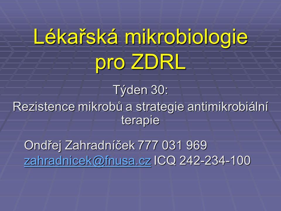 Lékařská mikrobiologie pro ZDRL Týden 30: Rezistence mikrobů a strategie antimikrobiální terapie Ondřej Zahradníček 777 031 969 zahradnicek@fnusa.cz I