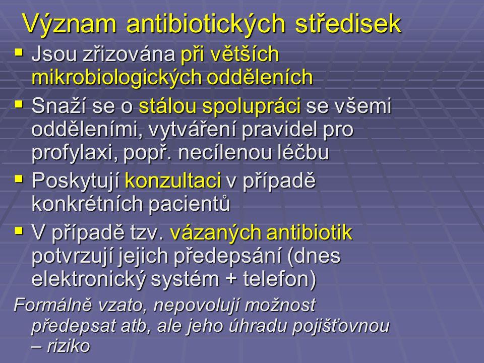 Význam antibiotických středisek  Jsou zřizována při větších mikrobiologických odděleních  Snaží se o stálou spolupráci se všemi odděleními, vytvářen