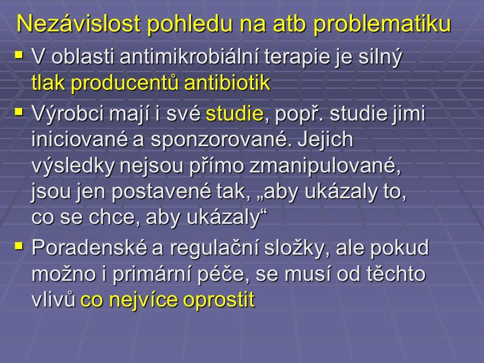 Nezávislost pohledu na atb problematiku  V oblasti antimikrobiální terapie je silný tlak producentů antibiotik  Výrobci mají i své studie, popř. stu