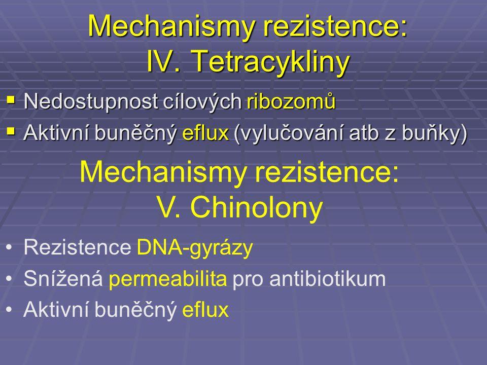 Mechanismy rezistence: IV. Tetracykliny  Nedostupnost cílových ribozomů  Aktivní buněčný eflux (vylučování atb z buňky) Mechanismy rezistence: V. Ch