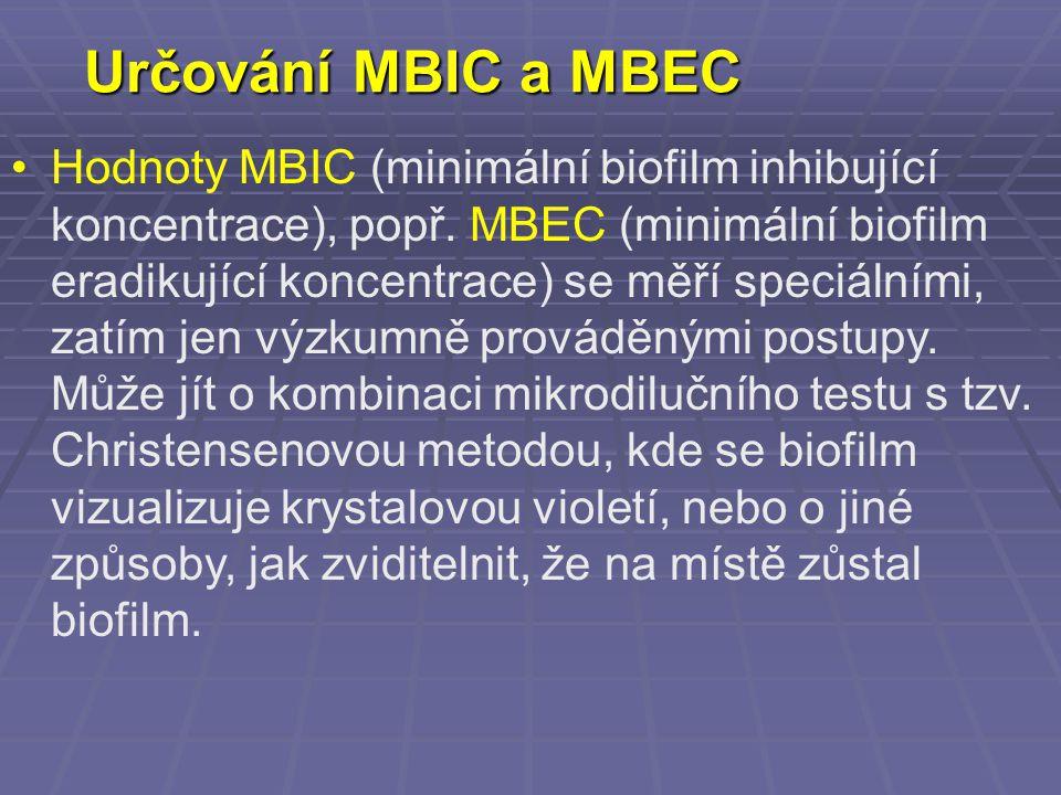 Určování MBIC a MBEC Hodnoty MBIC (minimální biofilm inhibující koncentrace), popř. MBEC (minimální biofilm eradikující koncentrace) se měří speciální