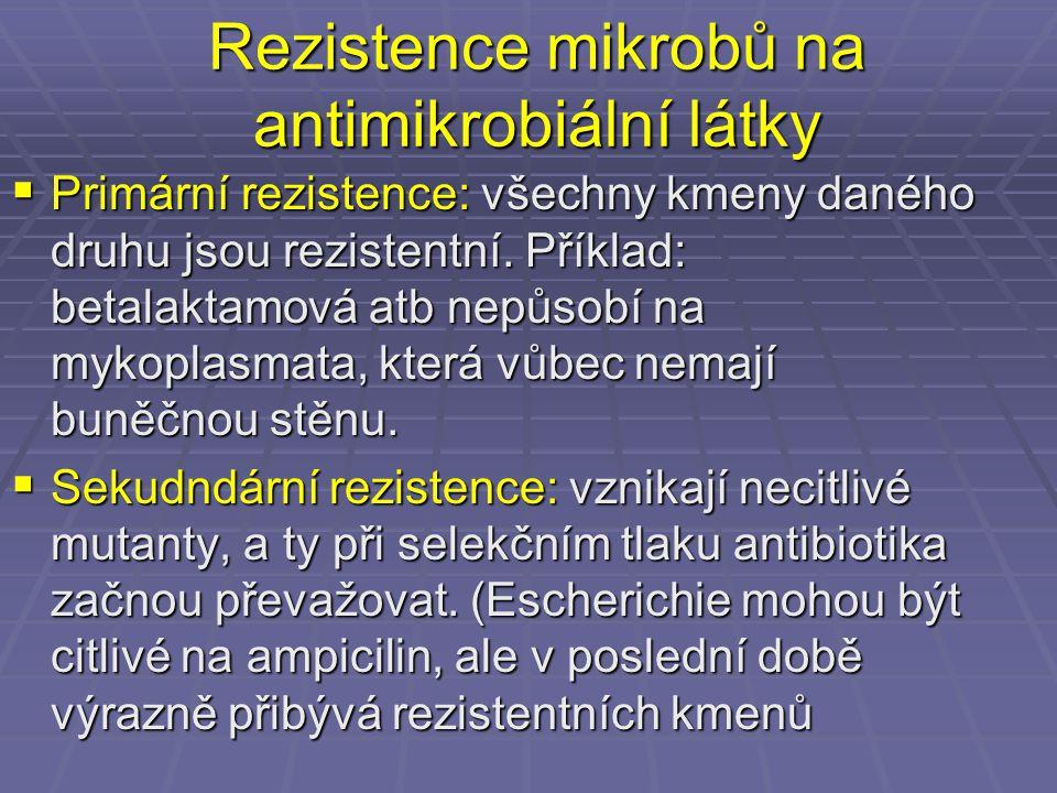 Rezistence mikrobů na antimikrobiální látky  Primární rezistence: všechny kmeny daného druhu jsou rezistentní. Příklad: betalaktamová atb nepůsobí na
