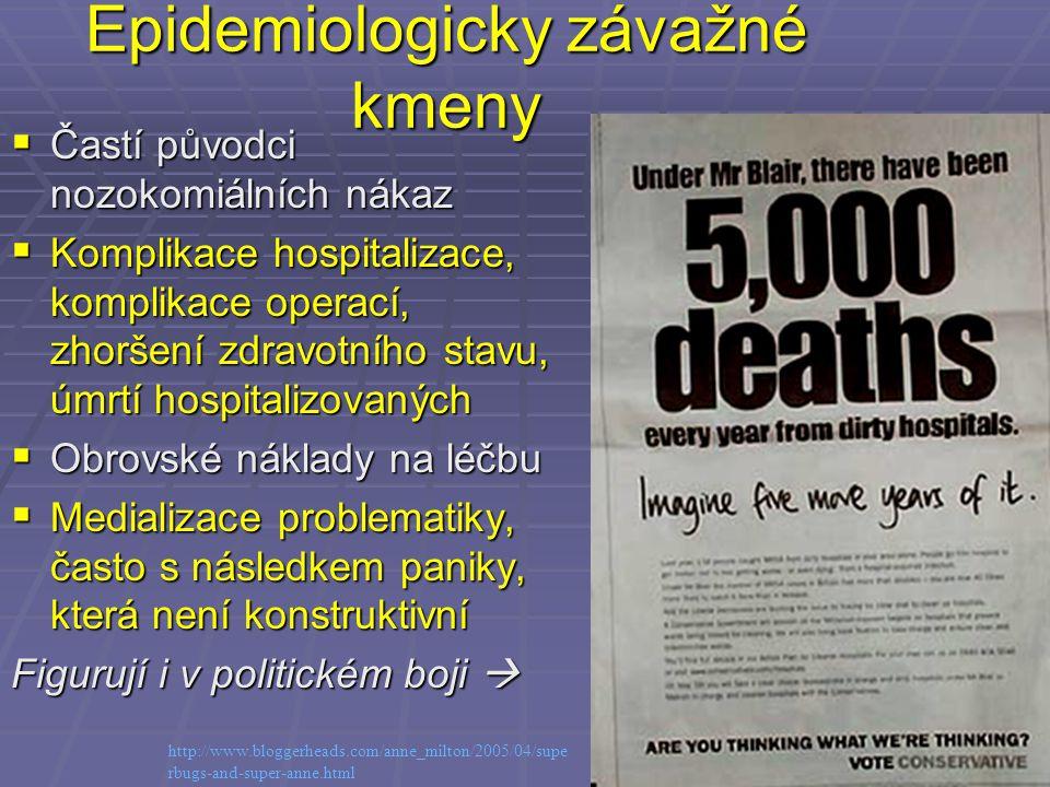 Epidemiologicky závažné kmeny  Častí původci nozokomiálních nákaz  Komplikace hospitalizace, komplikace operací, zhoršení zdravotního stavu, úmrtí h