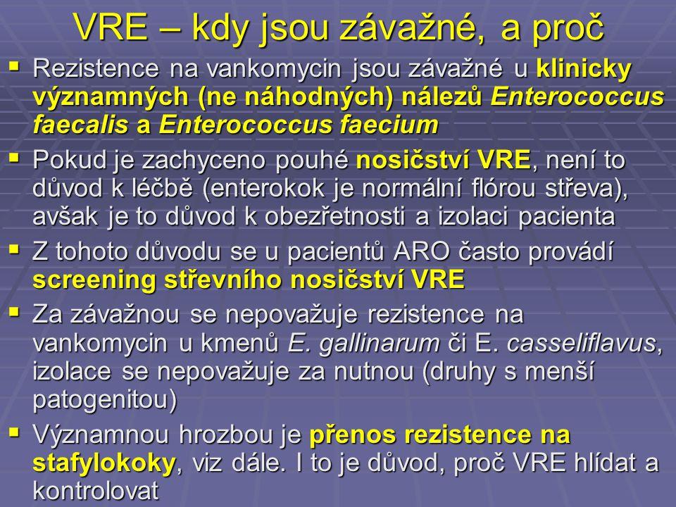 VRE – kdy jsou závažné, a proč  Rezistence na vankomycin jsou závažné u klinicky významných (ne náhodných) nálezů Enterococcus faecalis a Enterococcu