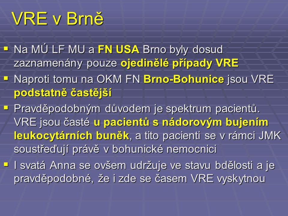 VRE v Brně  Na MÚ LF MU a FN USA Brno byly dosud zaznamenány pouze ojedinělé případy VRE  Naproti tomu na OKM FN Brno-Bohunice jsou VRE podstatně ča