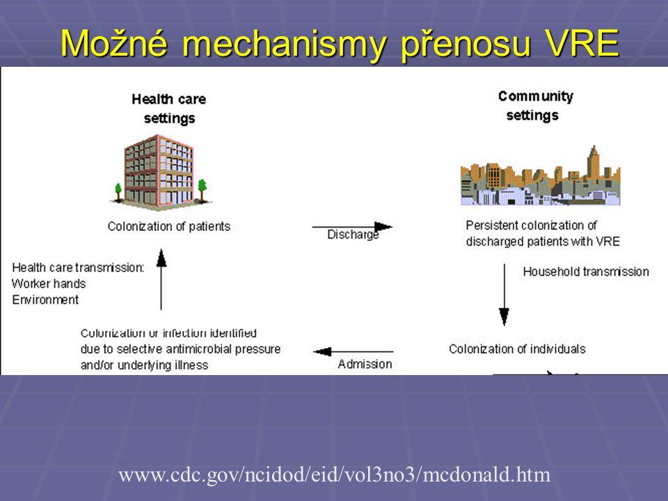 Možné mechanismy přenosu VRE www.cdc.gov/ncidod/eid/vol3no3/mcdonald.htm