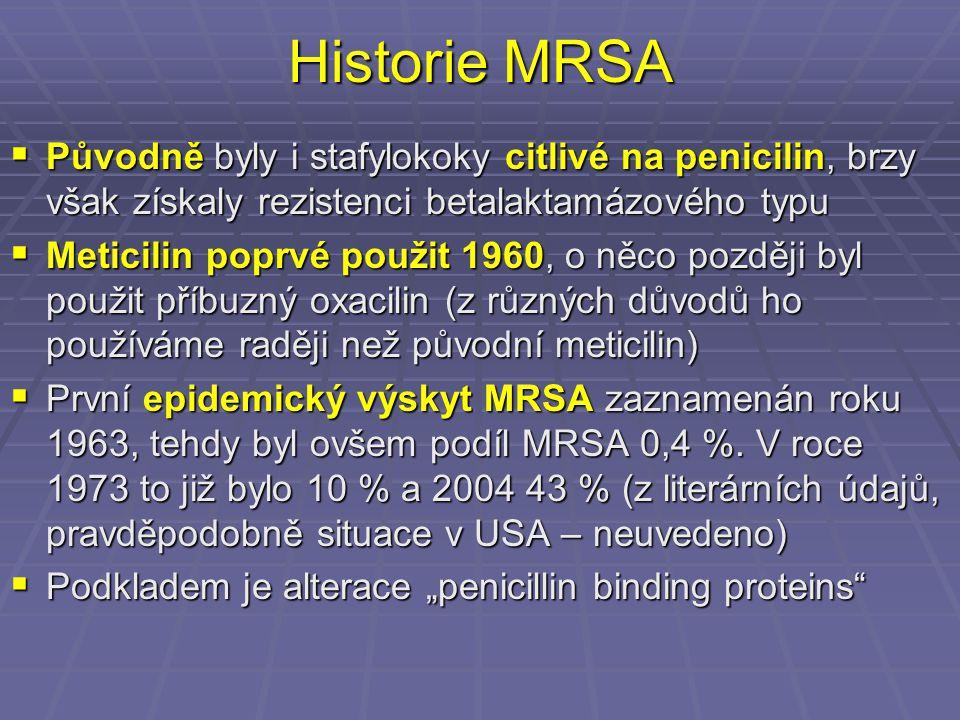 Historie MRSA  Původně byly i stafylokoky citlivé na penicilin, brzy však získaly rezistenci betalaktamázového typu  Meticilin poprvé použit 1960, o